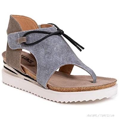MUK LUKS Women's Pitch Solo Sandal-Denim Wedge