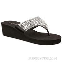 Olivia Miller Womens TYOM-133 Wedge Sandals 10 Black