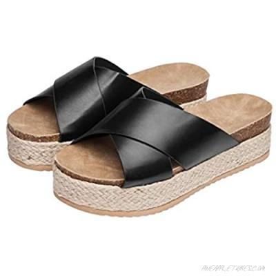 Womens Leather Wedge Sandals Open Toe Flip Flops Casual Flats Sandals for Women Beach Office Walking Shoes Comfortable Platform Sandals