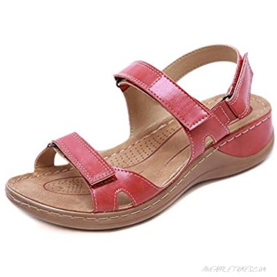 Women's Premium Orthopedic Open Toe Sandals Ladies Wedge Faux Leather Sandals Summer Hook and Loop Comfy Sandals Casual Beach Sandals for Walking Hiking Outdoor Sport