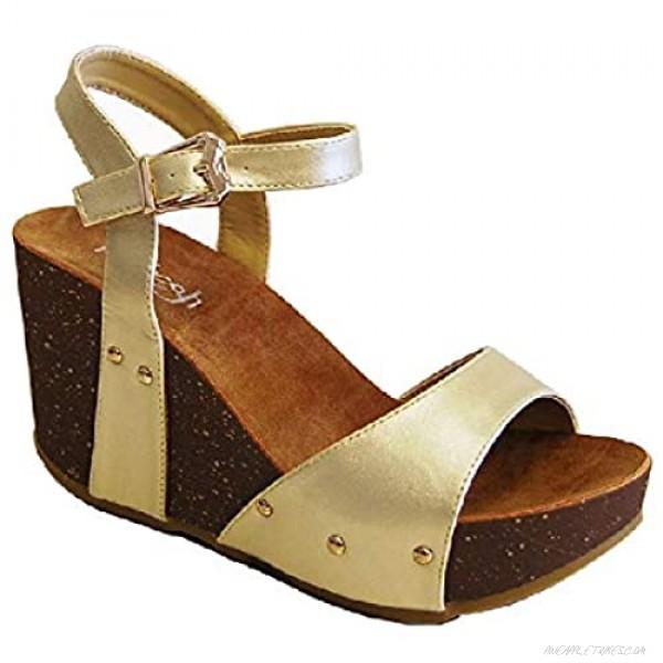 Z.Emma Women's Open Toe Ankle Strap Studded Faux Cork Heeled Platform Wedge Sandals MR