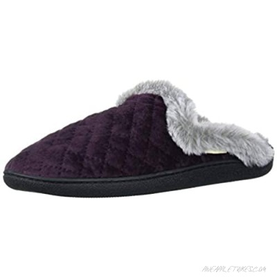 Dearfoams Women's Quilted Velour Scuff with Wide Widths Slipper