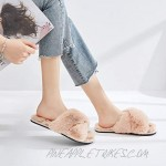 FamiPort Fuzzy Slippers for Women Bunny Fur Cross-Band Slippers Cushioned Non-Slip Indoor/Outdoor Slippers