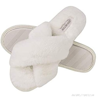 good motion Womens House Fuzzy Slippers Fluffy Soft Plush Cute Slippers Comfortable Fur Memory Foam Slippers Women's Cross Band Slippers Cozy Slip On Open Toe Indoor Outdoor Shoes for Women Size 7-12
