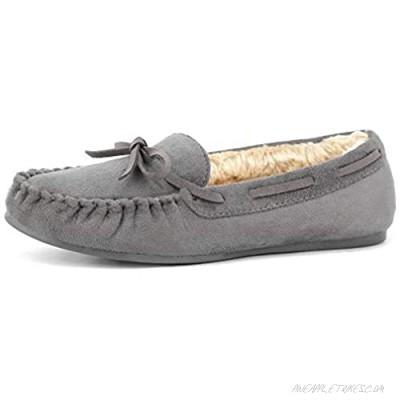MaxMuxun Women's Faux Fur Moccasin Comfort Slip On Slippers