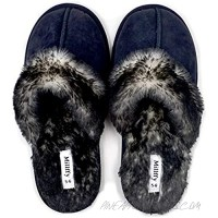 Millffy Faux Fur Slip On Unisex Mans Womens House Slipper with Memory Foam Slippers Shoes