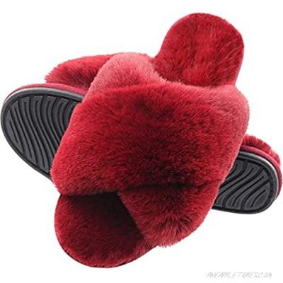 Open Toe Slippers for Women Cross Band Plush Fleece Non Slip Memory Foam Fuzzy Slide Slippers for Indoor Outdoor Wine Red 5-6