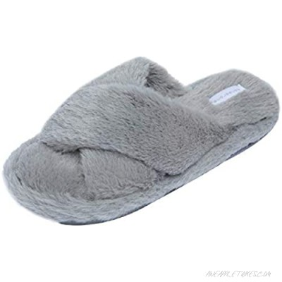 Women's Cross Band Slippers Soft Plush Fleece House Shoes for Indoor Outdoor