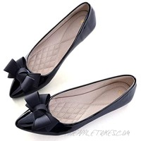 Chic Mode Women's Slip on Pointed Toe Driving Flats Comfortable Leather Ballet Bow-cot Flats Shoes for Work