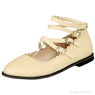 LUXMAX Womens Ballet Flats Strappy Mary Jane Ballerina Shoes