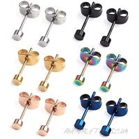 Ruifan 20G Mix Color Stainless Steel Flat Top Stud Earrings for Men Women 3-8mm 6Pairs