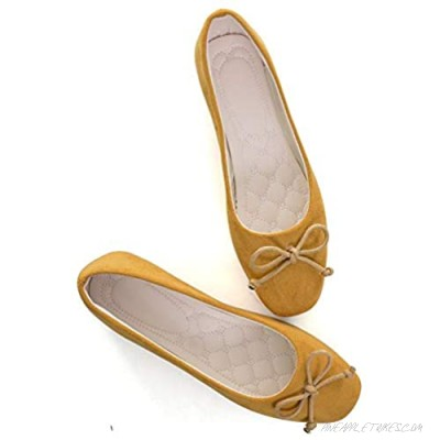 Women Slip On Comfortable Classic Shoes Round Head Flat Shallow Mouth Bow Soft Sole Leisure Ballet Flat ShoesFlat Leather Shoes with Bows Comfort Ballerina Flat Bow Dress Shoes
