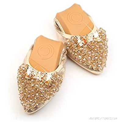 Women's Folding Rhinestone Flat Shoes Pointed Soft Sole Ballet Shoes Fashion Casual Slip On Sleeve Lazy Shoes Pregnant Women's Comfortable Shoes
