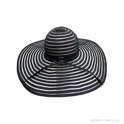 Luxury Divas Black & Sheer Striped Wide Brim Floppy Hat