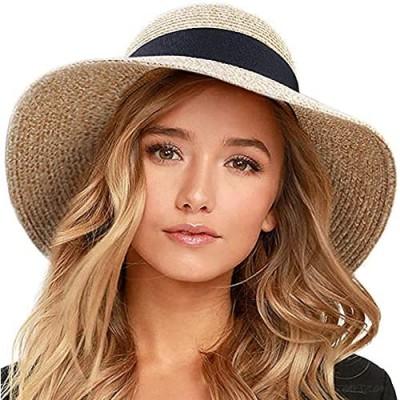 POBIYEIO Sun Hats for Women Wide Brim Straw Hat Floppy Beach Hat Travel Foldable Brim Sun Protection Hat Summer UV Hat