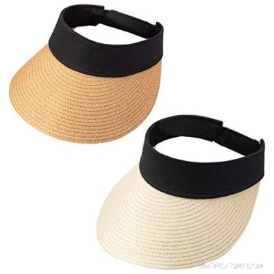RNFENQS 2 Pack Women's Straw Visor Sun Hat Wide Brim UPF 50+ Foldable Beach Cap with Open-top