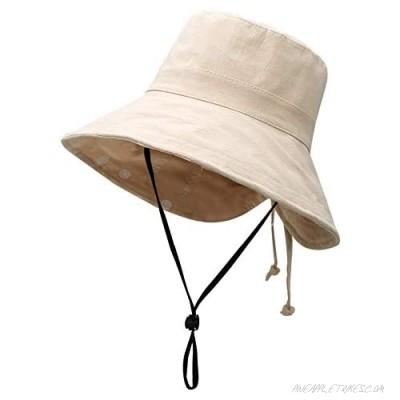 Womens Ponytail Summer Sun Hat Wide Brim UV Protection Foldable Safari Fishing Cap Floppy Bucket Hats