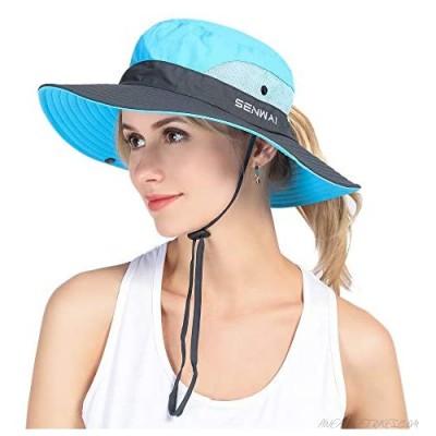 Women's Ponytails Sun Hats UV Protection Boonie Bucket Fishing Cap Mesh Wide Brim Outdoor Beach