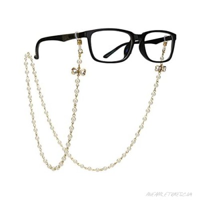 OULII Eyeglass Chain with Bowknot Imitation Pearls Glasses Strap Cords Sunglass Holder Lanyard Necklace Spectacles Holder Neck Cord Strap