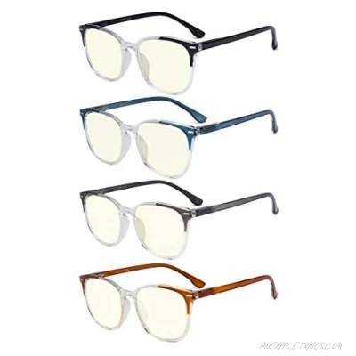 GTSY 4-Pairs Blue Light Blocking Reading Glasses - Cute Large Frame Glasses for Women Anti Glare Eyeglasses