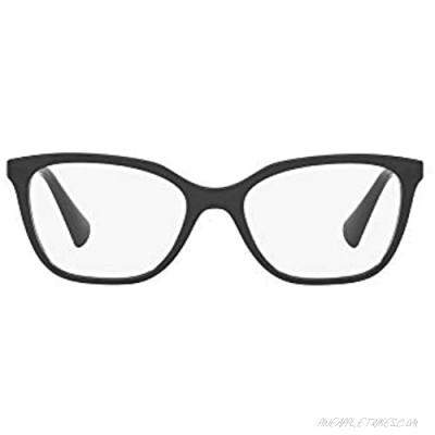 Ralph by Ralph Lauren Women's RA7110 Square Prescription Eyewear Frames Shiny Black/Demo Lens 52 mm