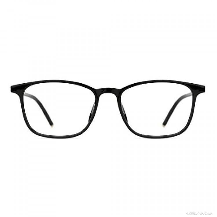 TIJN Retro Square Eyeglasses for Women Men with Blue Light Blocking Lenses Lightweight TR90 Metal Frame