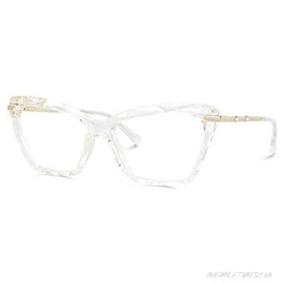 Voogueme Cat Eye Transparent Crystal Blue Light Blocking Glasses Eyeglasses for Women Annie VFP0270-04