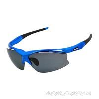 Ossat Pc Polarized Sports Sunglasses for Baseball Cycling Fishing Golf TR90 Superlight Frame (Blue)