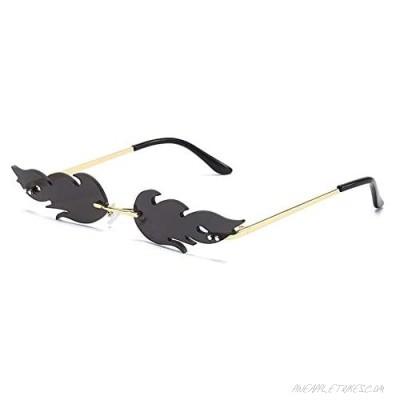 Sunglasses Unisex Flame Teen Girls Eyewear Novelty Rimless Small Face Glasses