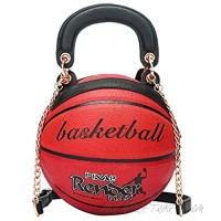 Basketball Shaped Handbags Purse Tote Round Shoulder Messenger Cross Body PU Leather Cute Bag Adjustable Strap for Women Girls (Red)