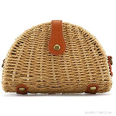 CHIC DIARY Summer Beach Crossbody bag for Women Straw Handwoven Rattan Clutch Purse Shoulder Handbag with Removable Strap