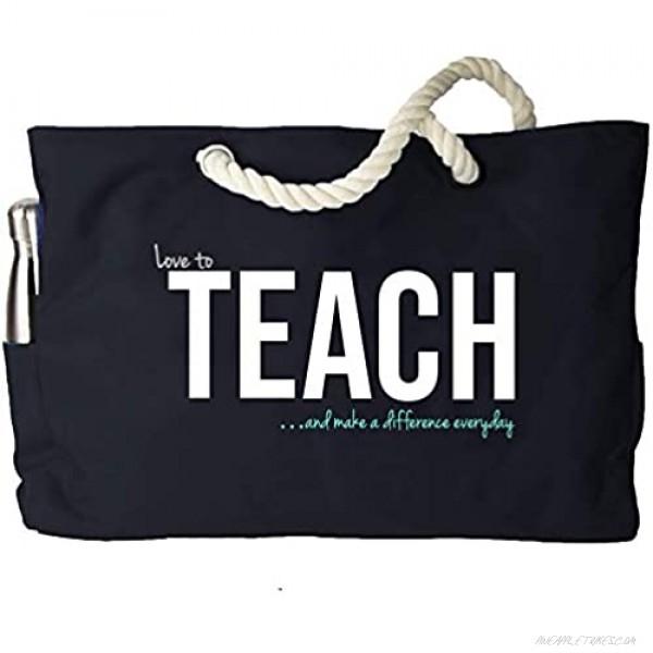 KEHO XXL Ultimate Teacher Waterproof Multi Pocket Tote Shoulder Bag (Huge) - Perfect Usable Gift for Teacher Appreciation Comfy Rope Handles & Perfect Work Bag