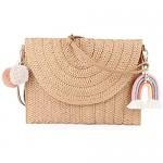 Women Straw Shoulder Bag Straw Clutch Purse Straw Woven Crossbody Bag Summer Beach Bag Envelope Purse Wallet