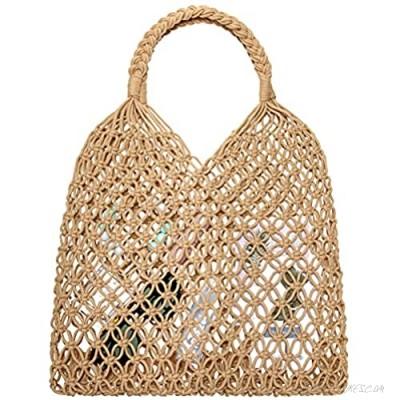 Women's Beach Straw Handbag Handmade Straw Bag Fishing Net Travel Beach Handbag Shopping Woven Shoulder Bag for Women Girl