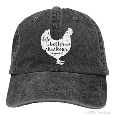 Denim Cap Life is Better with Chickens Around Baseball Dad Cap Classic Adjustable Casual Sports for Men Women Hats