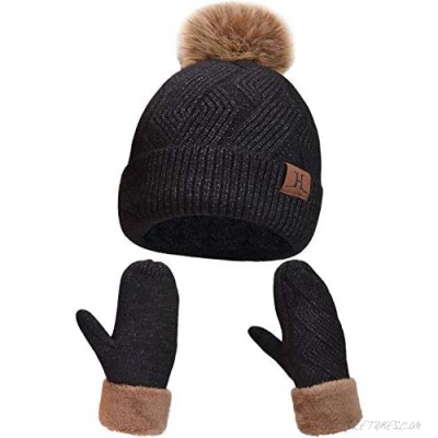 Maylisacc Hat and Gloves for Women Thermal Winter Knit Beanie Hats-and-Mittens 2 Pcs Set Ladies Thick Fleece Lined