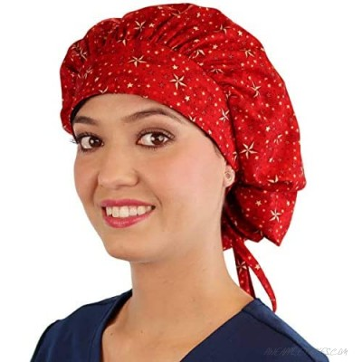 Shooting Stars (Red) - Designer Banded Bouffant Working Ponytail Style Cap