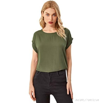 Floerns Women's Solid Casual Cuffed Sleeves Chiffon Blouse Shirt Top