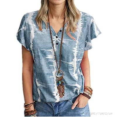 Guteidee Women's Stripes Button Down Shirts Roll-up Sleeve Tops V Neck Casual Work Blouses