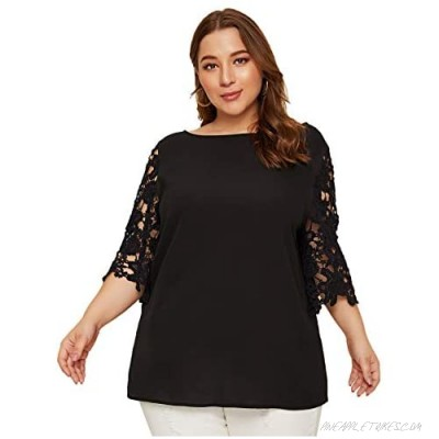 Romwe Women's Plus Size Casual Guipure Lace Half Sleeve Boat Neck Solid Blouse Tee Top
