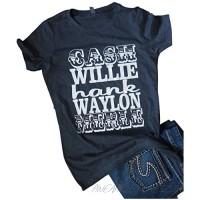 Chulianyouhuo Women Summer Cash Willie Hank Waylon Merle Shirts Country Music Festival Tees