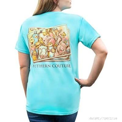 Farm Selfie Photo Lagoon Blue Cotton Fabric Comfort Fashion T-Shirt