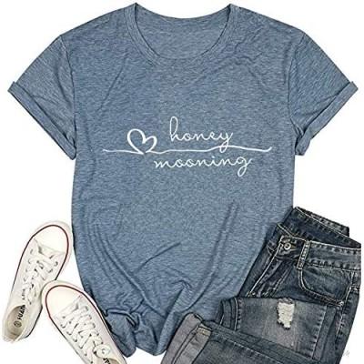 Honeymoonin' Honeymooning Wedding T Shirt Women Bride Vacation Love Heart Tees Short Sleeve Tops