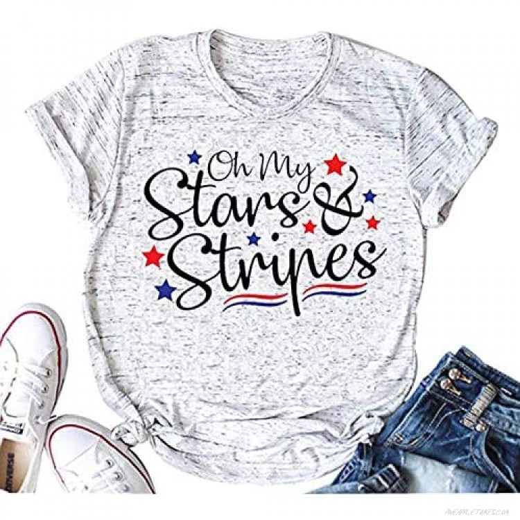Oh My Stars and Stripes Letter Print Cute Shirt Women's Patriotic Independence Day Tops