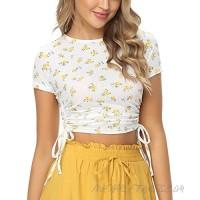 Zando Women's Round Neck Crop Tops Summer Sexy Crop Top for Women Slim Fit Tees T Shirt Cotton Basic Scoop Neck Tee