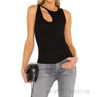 Aigeman Women's Sleeveless Cold Shoulder Tee Top Basic Slim Fit Tank Top Summer Off Shoulder Tshirt 720291