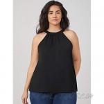 Milumia Women Plus Size Halter Top Sleeveless Summer Casual Tank Tops Blouse Shirt