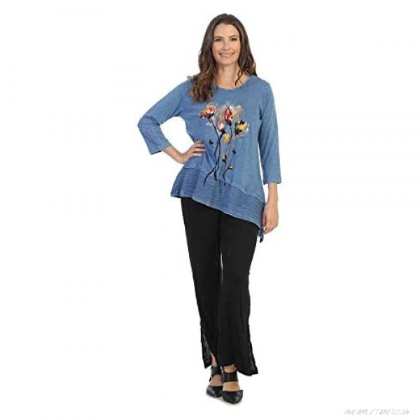 Jess & Jane Women's Country Posy Mineral Washed Cotton Wavy Asymmetric Tunic Top