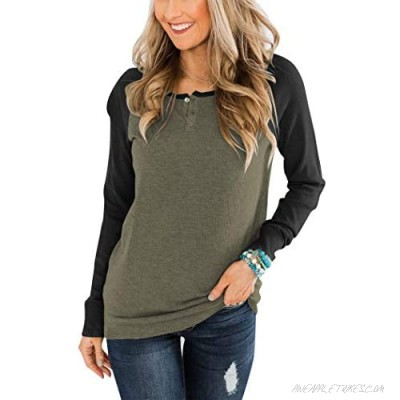 PRETTODAY Women's Button Up Tunics Tops Long Sleeve Color Block Tops Casual Crew Neck Pullovers