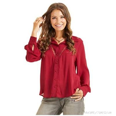 SONJA BETRO Women's Lace Inset Button Down Shirt Blouse Top Plus Size
